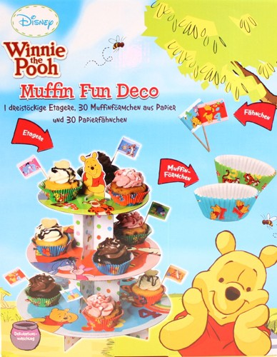 Winnie pooh geburtstag deko set 30 muffinf rmchen 30 f hnchen 3 stock etagere kaufen bei - Winnie pooh deko ...